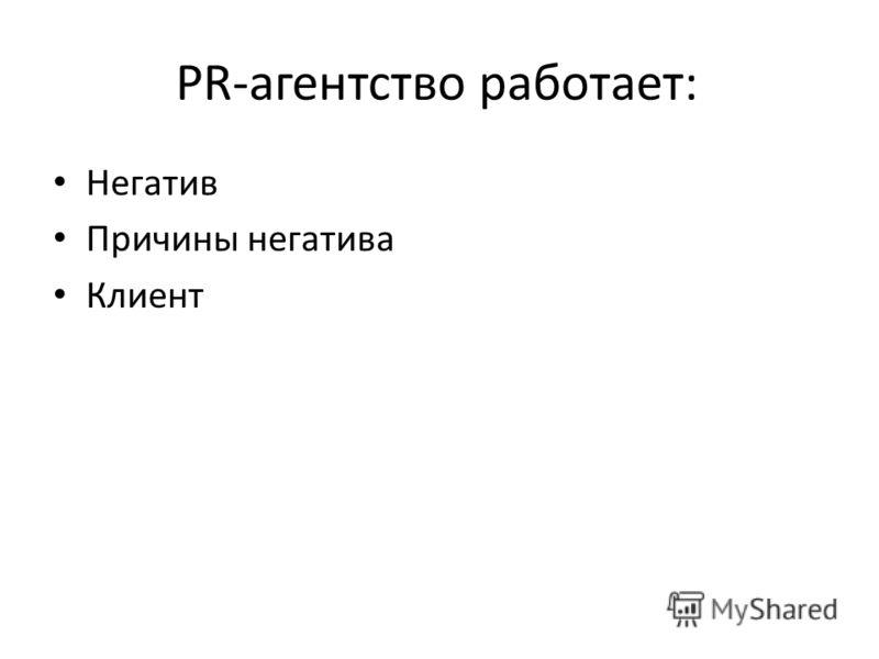 PR-агентство работает: Негатив Причины негатива Клиент