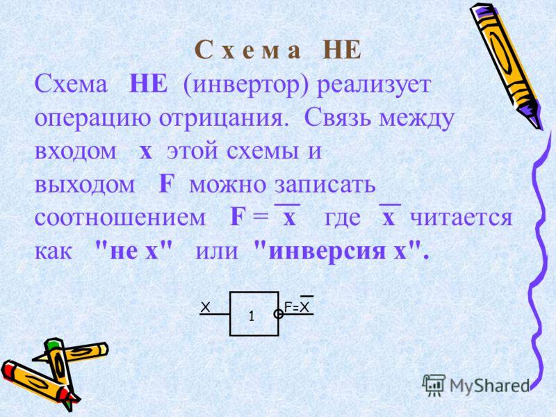 С х е м а НЕ Схема НЕ (инвертор) реализует операцию отрицания. Связь между входом x этой схемы и выходом F можно записать соотношением F = x где х читается как не x или инверсия х. XF=X 1