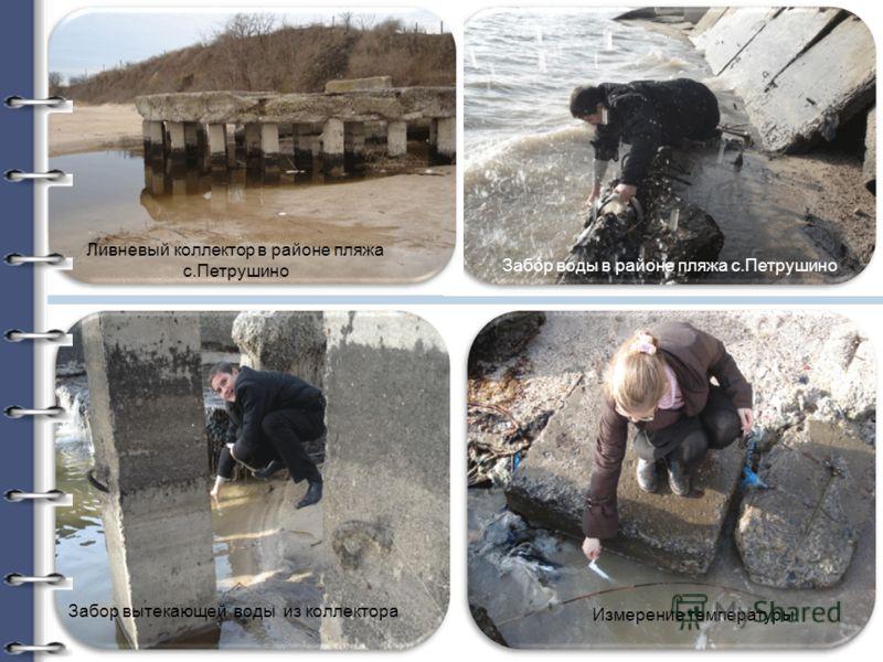 Ливневый коллектор в районе пляжа с.Петрушино Забор вытекающей воды из коллектора Измерение температуры Забор воды в районе пляжа с.Петрушино