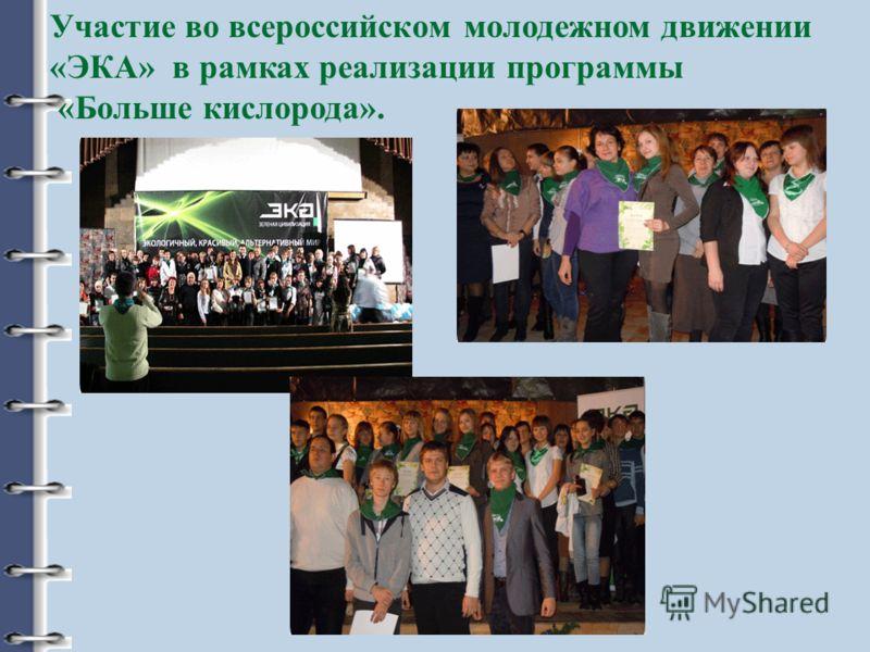 Участие во всероссийском молодежном движении «ЭКА» в рамках реализации программы «Больше кислорода».
