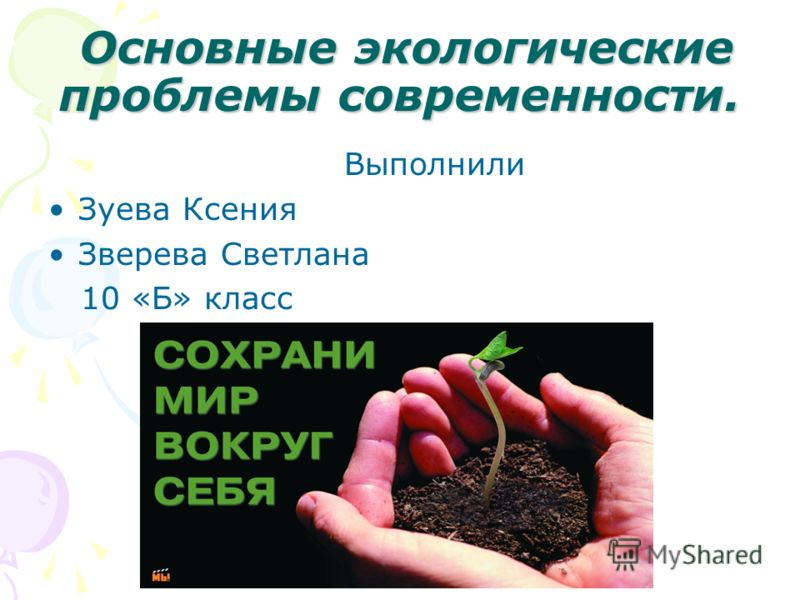 Основные экологические проблемы современности. Выполнили Зуева Ксения Зверева Светлана 10 «Б» класс