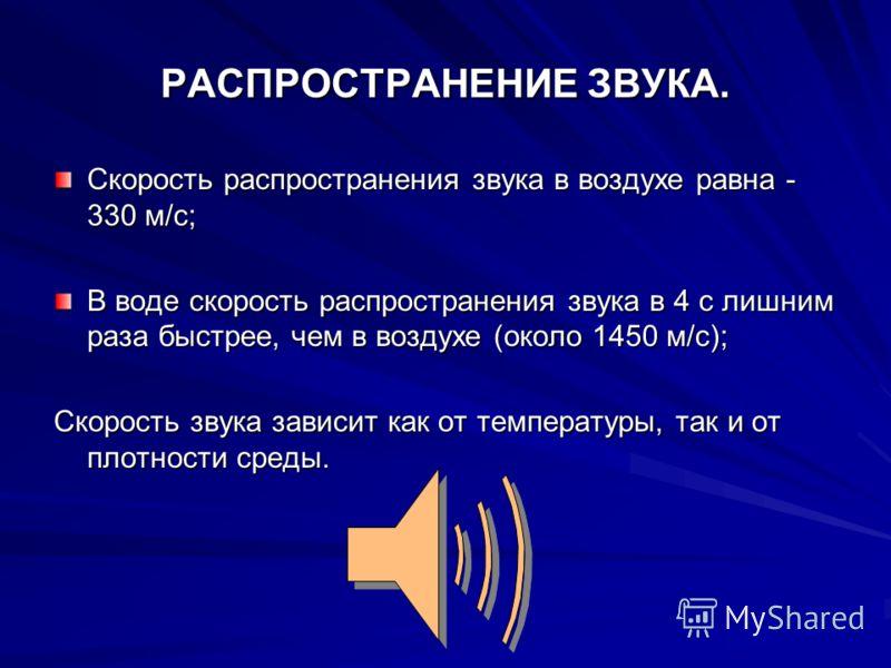РАСПРОСТРАНЕНИЕ ЗВУКА. Скорость распространения звука в воздухе равна - 330 м/с; В воде скорость распространения звука в 4 с лишним раза быстрее, чем в воздухе (около 1450 м/с); Скорость звука зависит как от температуры, так и от плотности среды.