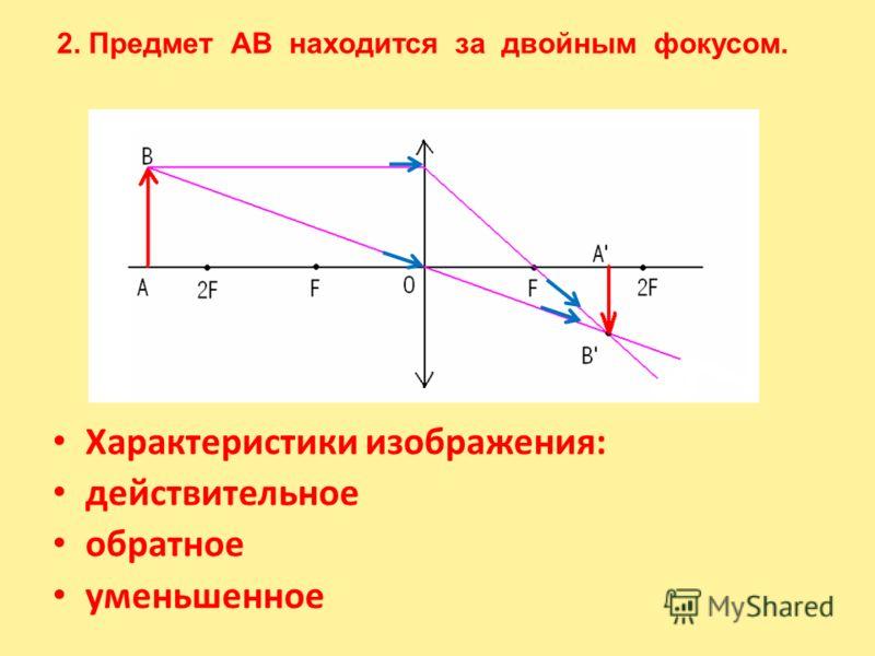 Характеристики изображения: действительное обратное уменьшенное 2. Предмет АВ находится за двойным фокусом.
