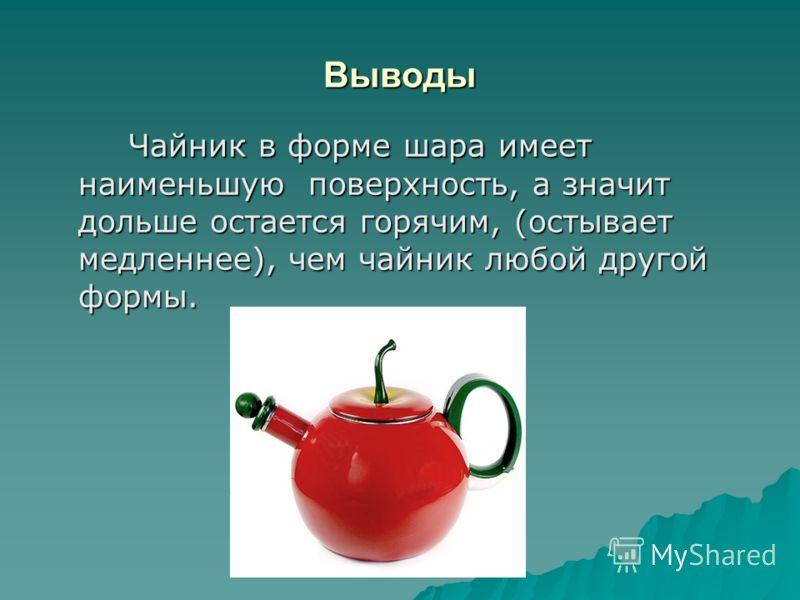 Выводы Чайник в форме шара имеет наименьшую поверхность, а значит дольше остается горячим, (остывает медленнее), чем чайник любой другой формы. Чайник в форме шара имеет наименьшую поверхность, а значит дольше остается горячим, (остывает медленнее),