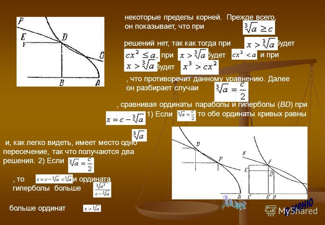 некоторые пределы корней. Прежде всего, он показывает, что при решений нет, так как тогда прибудет прибудет и при будет, что противоречит данному уравнению. Далее он разбирает случаи, сравнивая ординаты параболы и гиперболы (BD) при. 1) Если, то обе