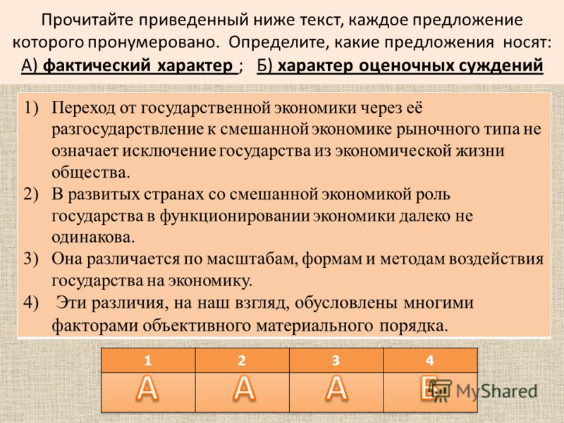 Прочитайте приведенный ниже текст, каждое предложение которого пронумеровано. Определите, какие предложения носят: А) фактический характер ; Б) характер оценочных суждений 1)Переход от государственной экономики через её разгосударствление к смешанной