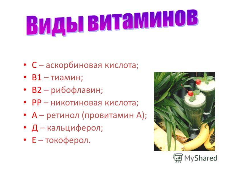 С – аскорбиновая кислота; В1 – тиамин; В2 – рибофлавин; РР – никотиновая кислота; А – ретинол (провитамин А); Д – кальциферол; Е – токоферол.