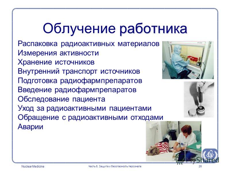 Nuclear Medicine Часть 5. Защита и безопасность персонала26 Распаковка радиоактивных материалов Измерения активности Хранение источников Внутренний транспорт источников Подготовка радиофармпрепаратов Введение радиофармпрепаратов Обследование пациента
