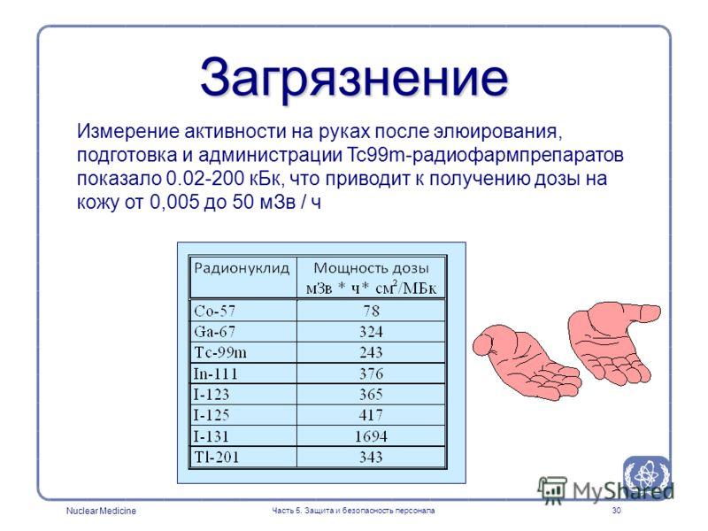Nuclear Medicine Часть 5. Защита и безопасность персонала30 Измерение активности на руках после элюирования, подготовка и администрации Tc99m-радиофармпрепаратов показало 0.02-200 кБк, что приводит к получению дозы на кожу от 0,005 до 50 мЗв / ч Загр