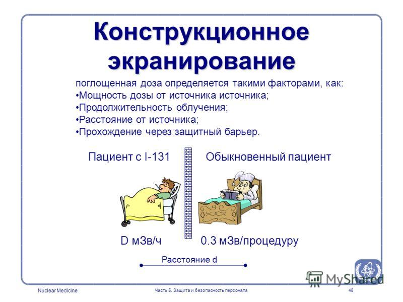 Nuclear Medicine Часть 5. Защита и безопасность персонала48 Конструкционное экранирование Пациент с I-131 D мЗв/ч0.3 мЗв/процедуру Расстояние d Обыкновенный пациент поглощенная доза определяется такими факторами, как: Мощность дозы от источника источ