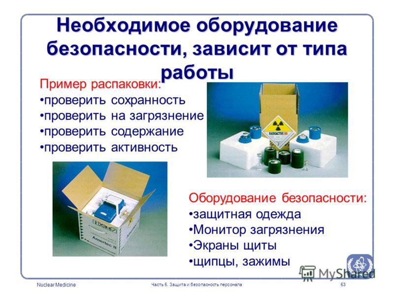 Nuclear Medicine Часть 5. Защита и безопасность персонала53 Необходимое оборудование безопасности, зависит от типа работы Оборудование безопасности: защитная одежда Монитор загрязнения Экраны щиты щипцы, зажимы Пример распаковки: проверить сохранност