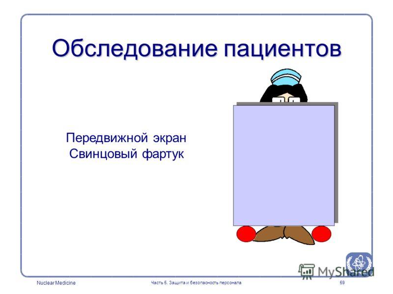 Nuclear Medicine Часть 5. Защита и безопасность персонала59 Обследование пациентов Передвижной экран Свинцовый фартук