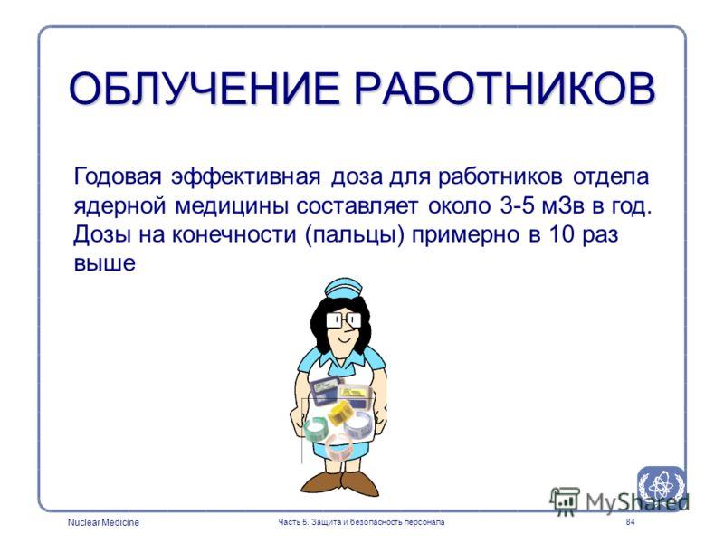 Nuclear Medicine Часть 5. Защита и безопасность персонала84 ОБЛУЧЕНИЕ РАБОТНИКОВ Годовая эффективная доза для работников отдела ядерной медицины составляет около 3-5 мЗв в год. Дозы на конечности (пальцы) примерно в 10 раз выше