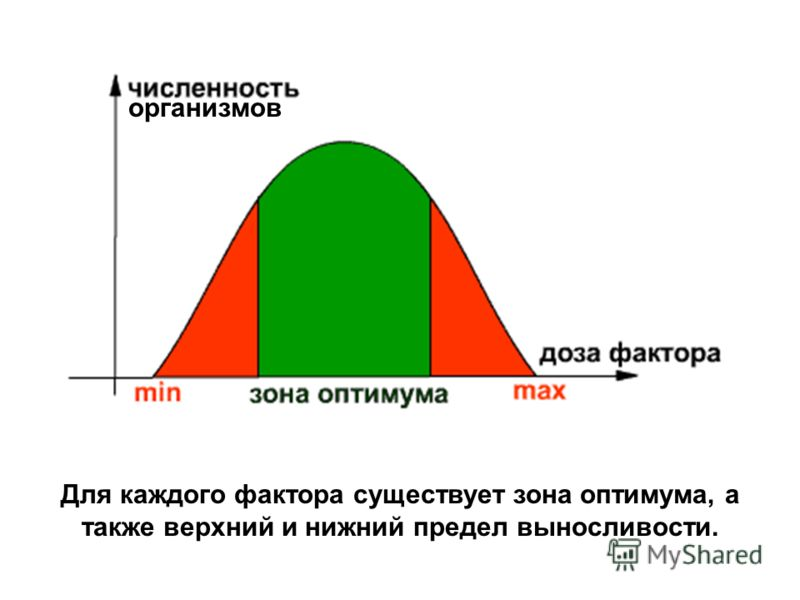 Для каждого фактора существует зона оптимума, а также верхний и нижний предел выносливости. организмов