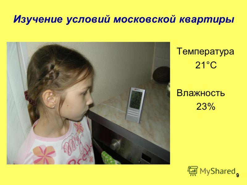 Температура 21°С Влажность 23% Изучение условий московской квартиры 9