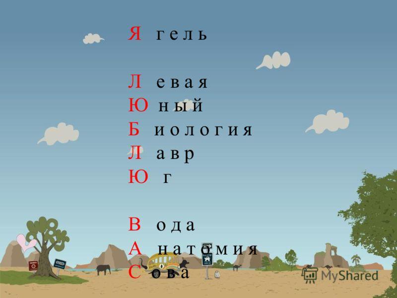 Я г е л ь Л е в а я Ю н ы й Б и о л о г и я Л а в р Ю г В о д а А н а т о м и я С о в а