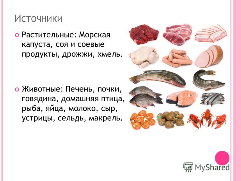 И СТОЧНИКИ Растительные: Морская капуста, соя и соевые продукты, дрожжи, хмель. Животные: Печень, почки, говядина, домашняя птица, рыба, яйца, молоко, сыр, устрицы, сельдь, макрель.