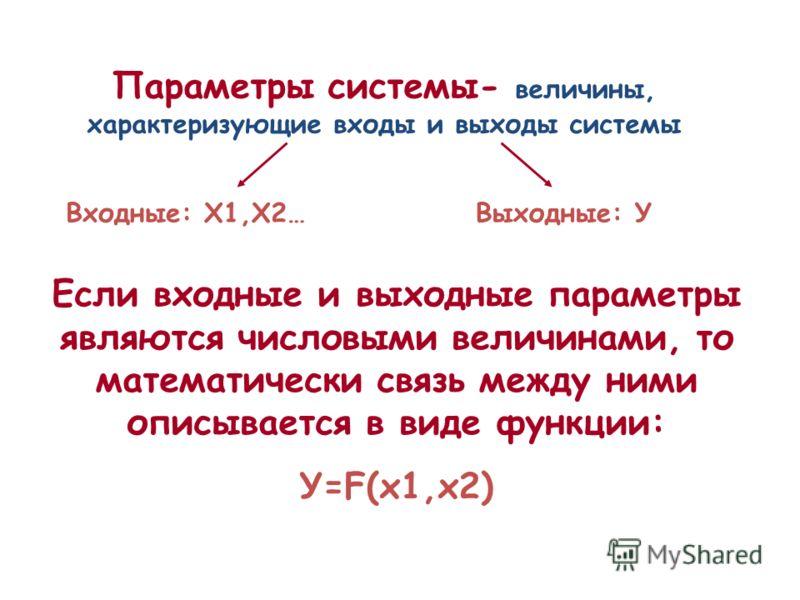 Параметры системы- величины, характеризующие входы и выходы системы Если входные и выходные параметры являются числовыми величинами, то математически связь между ними описывается в виде функции: У=F(x1,x2) Входные: Х1,Х2…Выходные: У