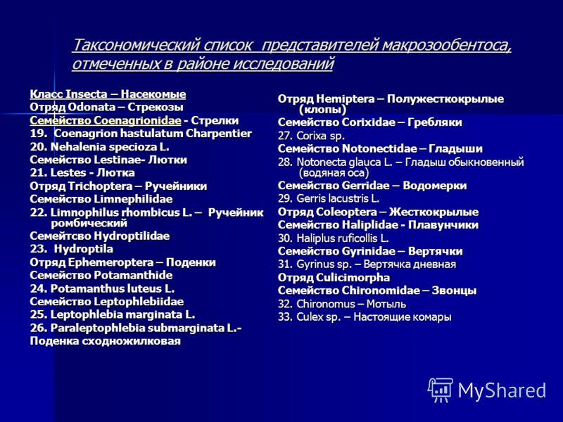Таксономический список представителей макрозообентоса, отмеченных в районе исследований Класс Insecta – Насекомые Отряд Odonata – Стрекозы Семейство CoenagrionidaeСемейство Coenagrionidae - Стрелки Семейство Coenagrionidae 19. Сoenagrion hastulatum C