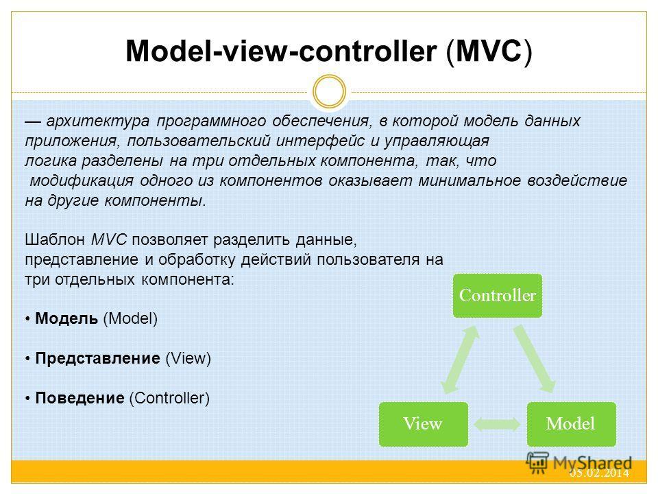 Model-view-controller (MVC) 05.02.2014 ControllerModelView архитектура программного обеспечения, в которой модель данных приложения, пользовательский интерфейс и управляющая логика разделены на три отдельных компонента, так, что модификация одного из