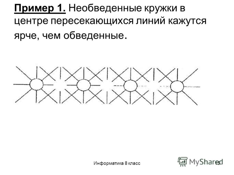 Информатика 8 класс15 Пример 1. Необведенные кружки в центре пересекающихся линий кажутся ярче, чем обведенные.