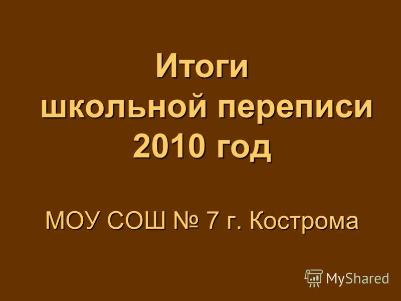 Итоги школьной переписи 2010 год МОУ СОШ 7 г. Кострома
