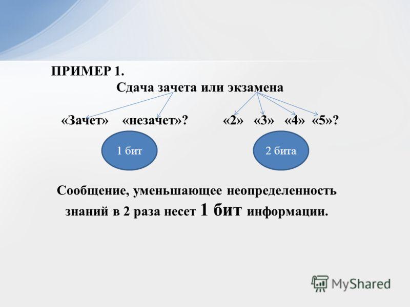 Сообщение, уменьшающее неопределенность знаний в 2 раза несет 1 бит информации. ПРИМЕР 1. Сдача зачета или экзамена «Зачет» «незачет»? «2» «3» «4» «5»? 1 бит2 бита