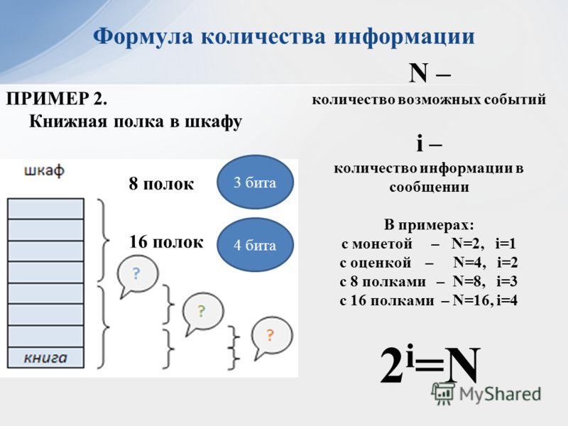ПРИМЕР 2. Книжная полка в шкафу 3 бита 8 полок 4 бита N – количество возможных событий i – количество информации в сообщении В примерах: с монетой – N=2, i=1 c оценкой – N=4, i=2 с 8 полками – N=8, i=3 с 16 полками – N=16, i=4 16 полок Формула количе