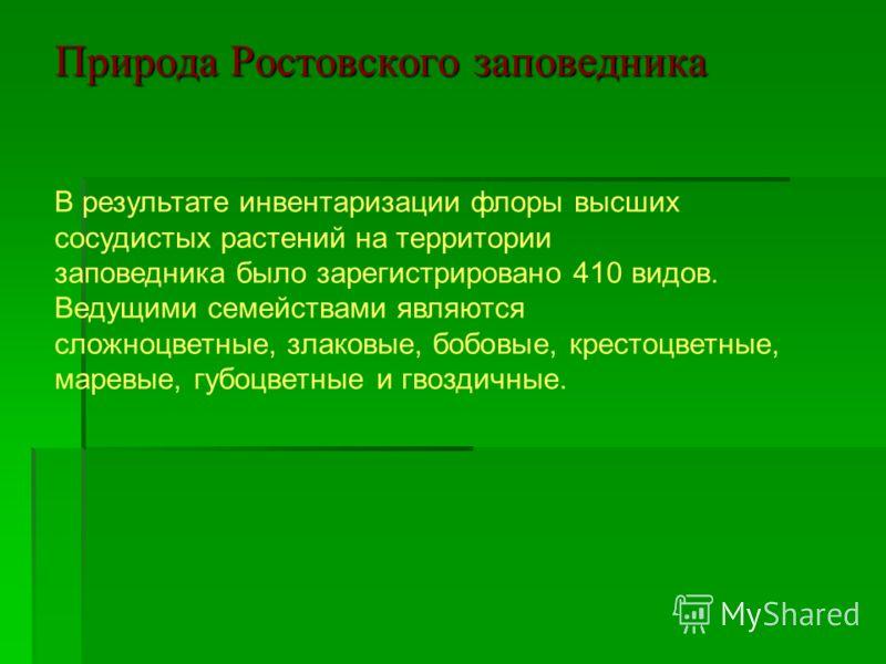 Природа Ростовского заповедника В результате инвентаризации флоры высших сосудистых растений на территории заповедника было зарегистрировано 410 видов. Ведущими семействами являются сложноцветные, злаковые, бобовые, крестоцветные, маревые, губоцветны
