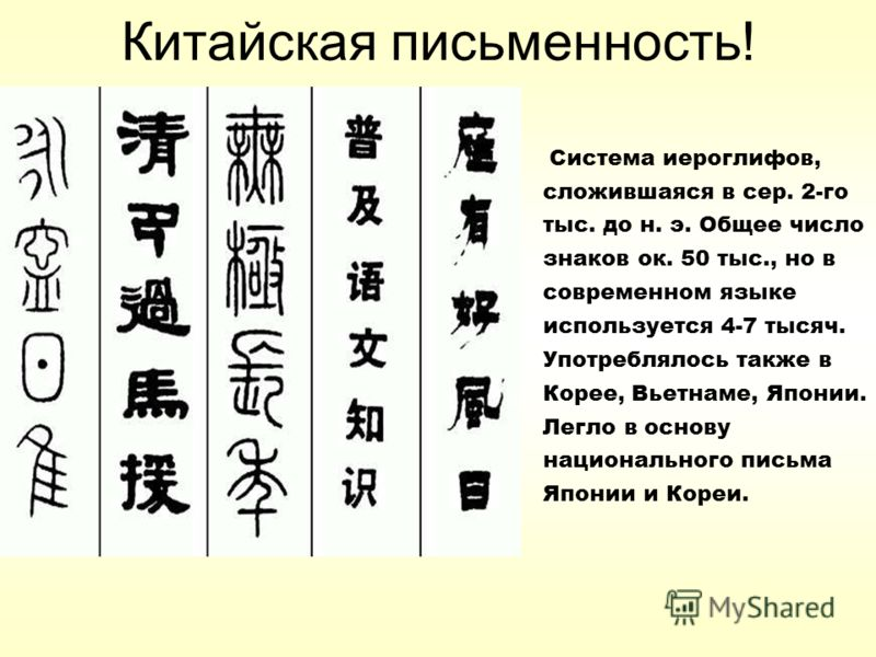 Китайская письменность! Система иероглифов, сложившаяся в сер. 2-го тыс. до н. э. Общее число знаков ок. 50 тыс., но в современном языке используется 4-7 тысяч. Употреблялось также в Корее, Вьетнаме, Японии. Легло в основу национального письма Японии