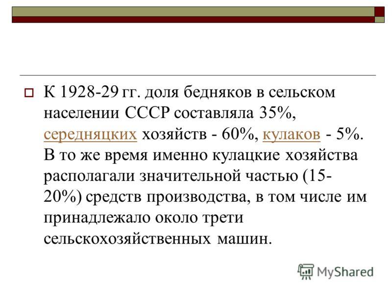 К 1928-29 гг. доля бедняков в сельском населении СССР составляла 35%, середняцких хозяйств - 60%, кулаков - 5%. В то же время именно кулацкие хозяйства располагали значительной частью (15- 20%) средств производства, в том числе им принадлежало около