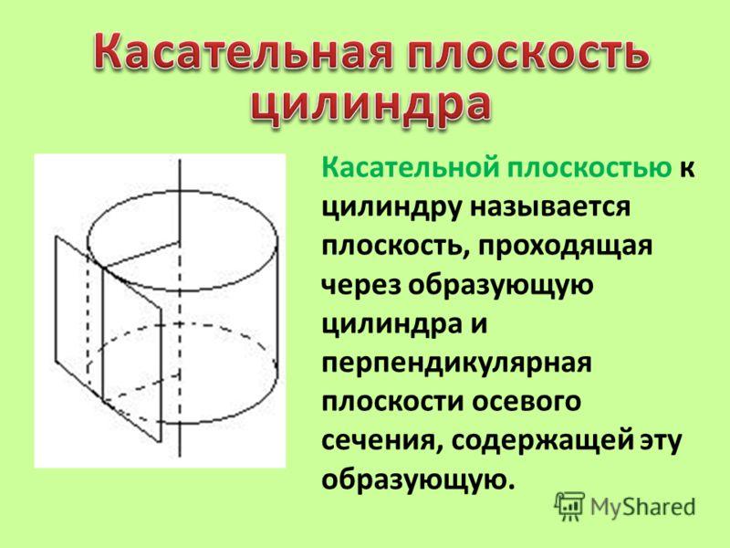 Касательной плоскостью к цилиндру называется плоскость, проходящая через образующую цилиндра и перпендикулярная плоскости осевого сечения, содержащей эту образующую.