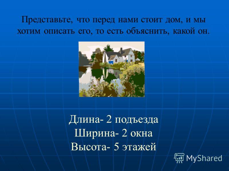Представьте, что перед нами стоит дом, и мы хотим описать его, то есть объяснить, какой он. Длина- 2 подъезда Ширина- 2 окна Высота- 5 этажей