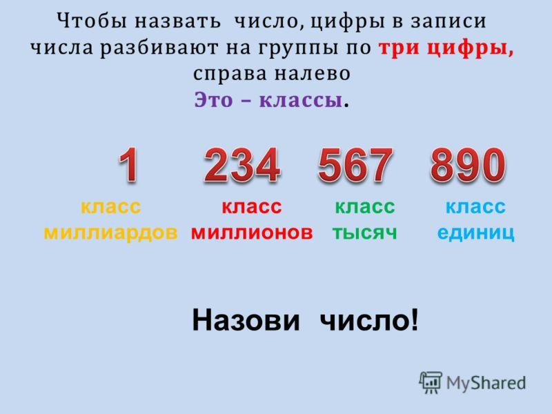 Чтобы назвать число, цифры в записи числа разбивают на группы по три цифры, справа налево Это – классы. класс единиц класс тысяч класс миллионов класс миллиардов Назови число!
