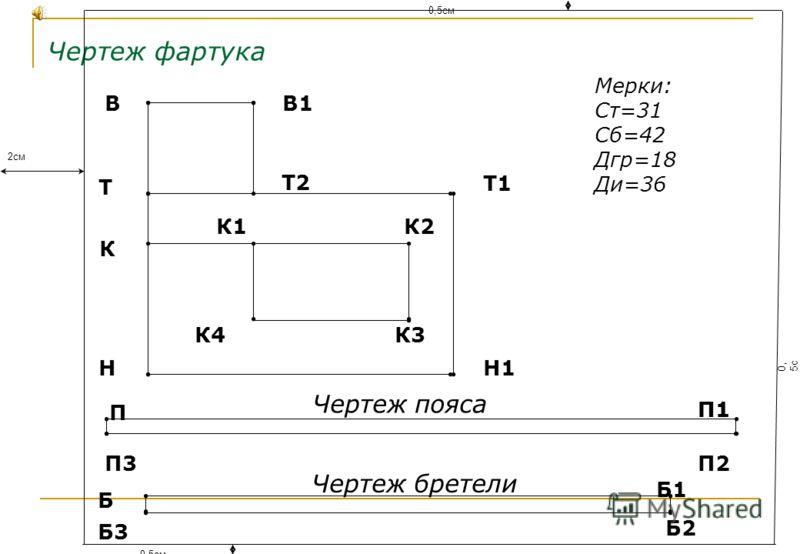 Чертеж фартука Мерки: Ст=31 Сб=42 Дгр=18 Ди=36 НН1 Т2 ВВ1 К К1 Чертеж пояса Чертеж бретели Т Т1 К2 К3К4 П П1 П2П3 Б Б1 Б3 Б2 П1 2см 0,5см