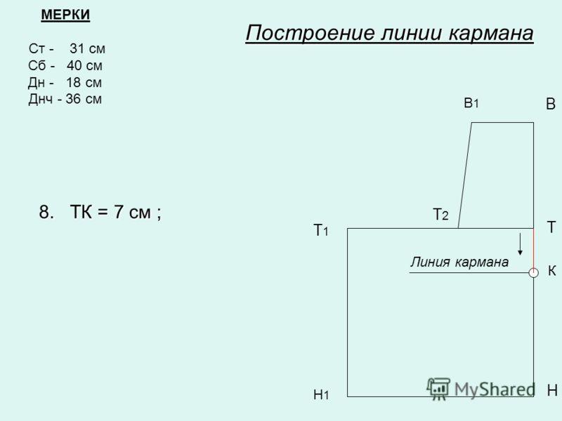 МЕРКИ Ст - 31 см Сб - 40 см Дн - 18 см Днч - 36 см В1В1 В Т Т1Т1 Н Н1Н1 Построение линии кармана Т2Т2 8. ТК = 7 см ; К Линия кармана