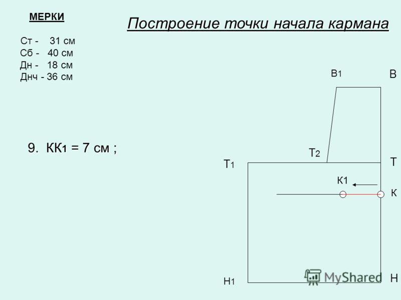МЕРКИ Ст - 31 см Сб - 40 см Дн - 18 см Днч - 36 см В1В1 В Т Т1Т1 Н Н1Н1 Построение точки начала кармана Т2Т2 К К1 9. КК 1 = 7 см ;