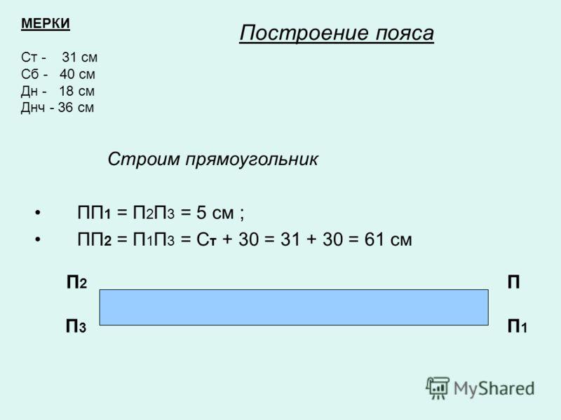 Построение пояса Строим прямоугольник ПП 1 = П 2 П 3 = 5 см ; ПП 2 = П 1 П 3 = С т + 30 = 31 + 30 = 61 см П П1П1 П 2 П3П3 МЕРКИ Ст - 31 см Сб - 40 см Дн - 18 см Днч - 36 см