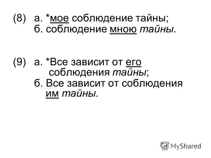 (8)а. *мое соблюдение тайны; б. соблюдение мною тайны. (9)а. *Все зависит от его соблюдения тайны; б. Все зависит от соблюдения им тайны.