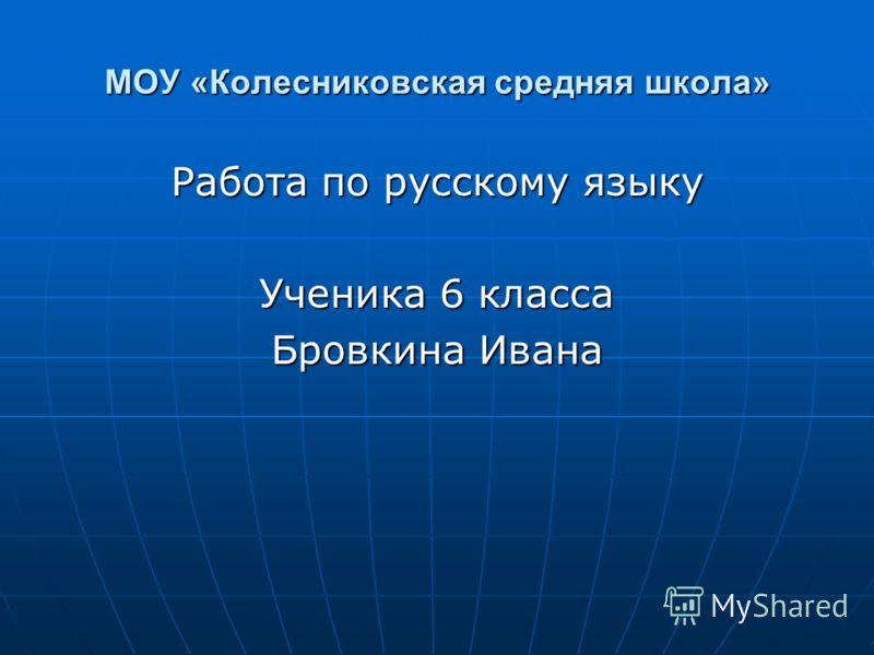МОУ «Колесниковская средняя школа» Работа по русскому языку Ученика 6 класса Бровкина Ивана