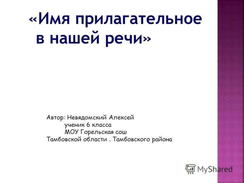 «Имя прилагательное в нашей речи» Автор: Невядомский Алексей ученик 6 класса МОУ Горельская сош Тамбовской области. Тамбовского района