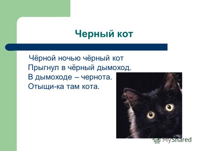 Черный кот Чёрной ночью чёрный кот Прыгнул в чёрный дымоход. В дымоходе – чернота. Отыщи-ка там кота.