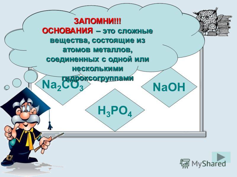 Укажите формулу основания Na 2 CO 3 NaOH H 3 PO 4 ЗАПОМНИ!!! ОСНОВАНИЯ – это сложные вещества, состоящие из атомов металлов, соединенных с одной или несколькими гидроксогруппами ЗАПОМНИ!!!