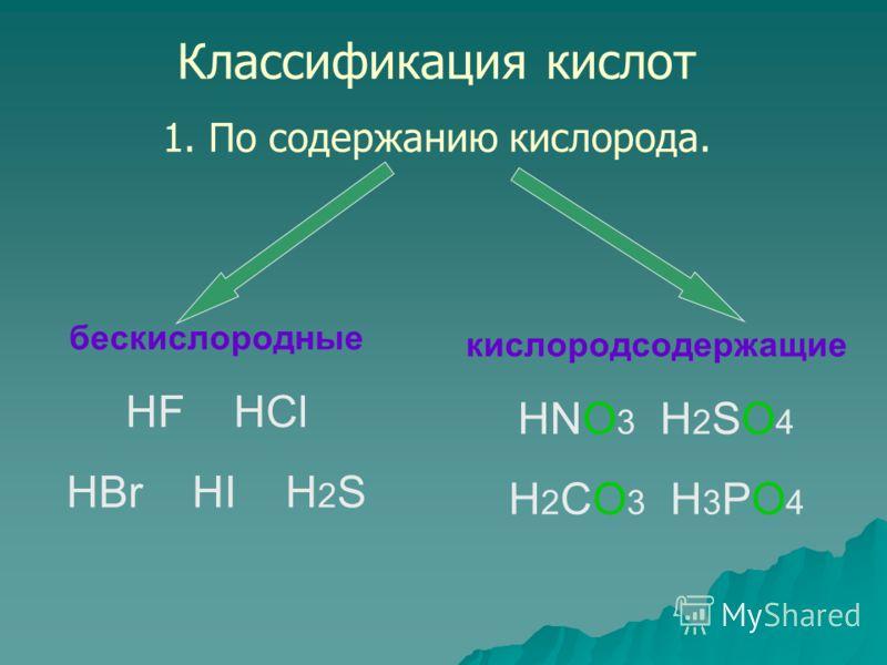 Классификация кислот 1. По содержанию кислорода. бескислородные HF HCl HBr HI H 2 S кислородсодержащие HNO 3 H 2 SO 4 H 2 CO 3 H 3 PO 4