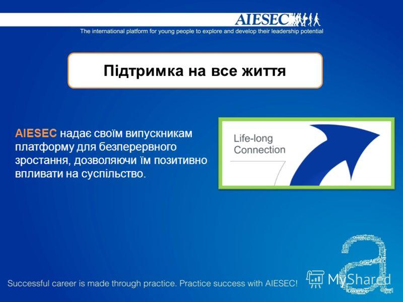 Підтримка на все життя AIESEC надає своїм випускникам платформу для безперервного зростання, дозволяючи їм позитивно впливати на суспільство.