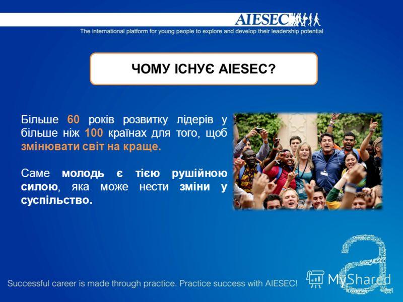 ЧОМУ ІСНУЄ AIESEC? Більше 60 років розвитку лідерів у більше ніж 100 країнах для того, щоб змінювати світ на краще. Саме молодь є тією рушійною силою, яка може нести зміни у суспільство.