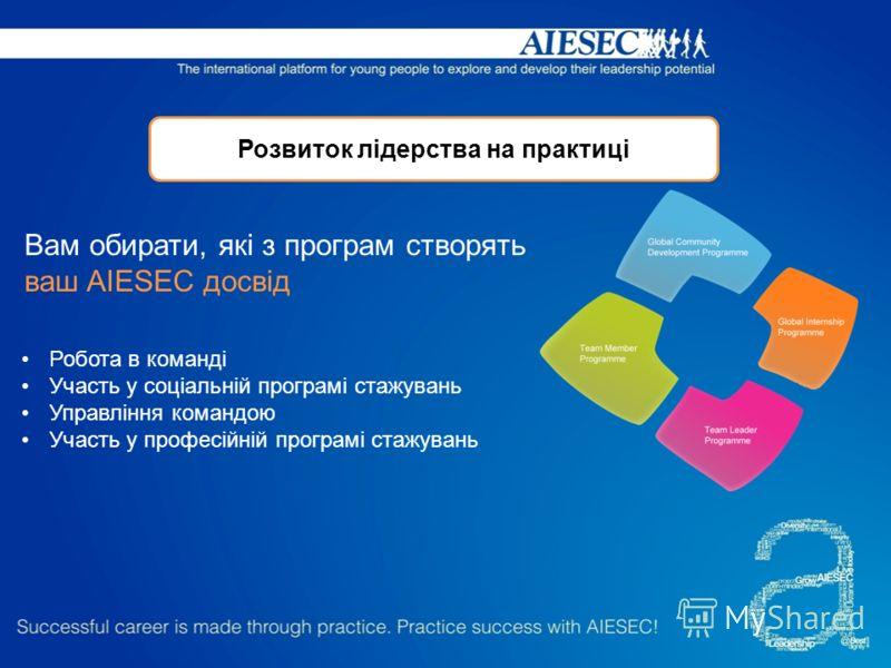 Розвиток лідерства на практиці Робота в команді Участь у соціальній програмі стажувань Управління командою Участь у професійній програмі стажувань Вам обирати, які з програм створять ваш AIESEC досвід