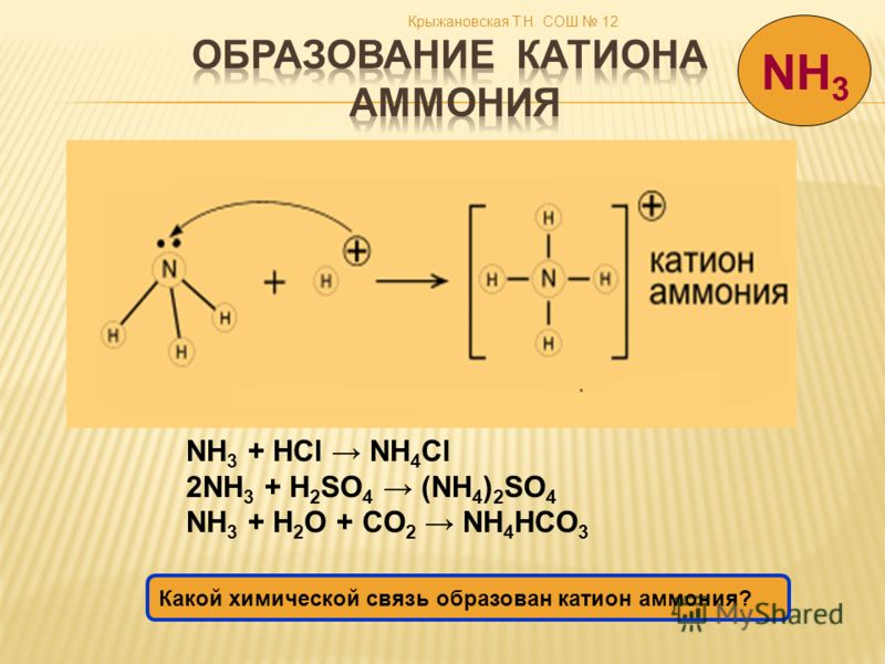 Крыжановская Т.Н. СОШ 12 NH 3 + HCl NH 4 Cl 2NH 3 + H 2 SO 4 (NH 4 ) 2 SO 4 NH 3 + H 2 O + CO 2 NH 4 HCO 3 NH 3 Какой химической связь образован катион аммония?
