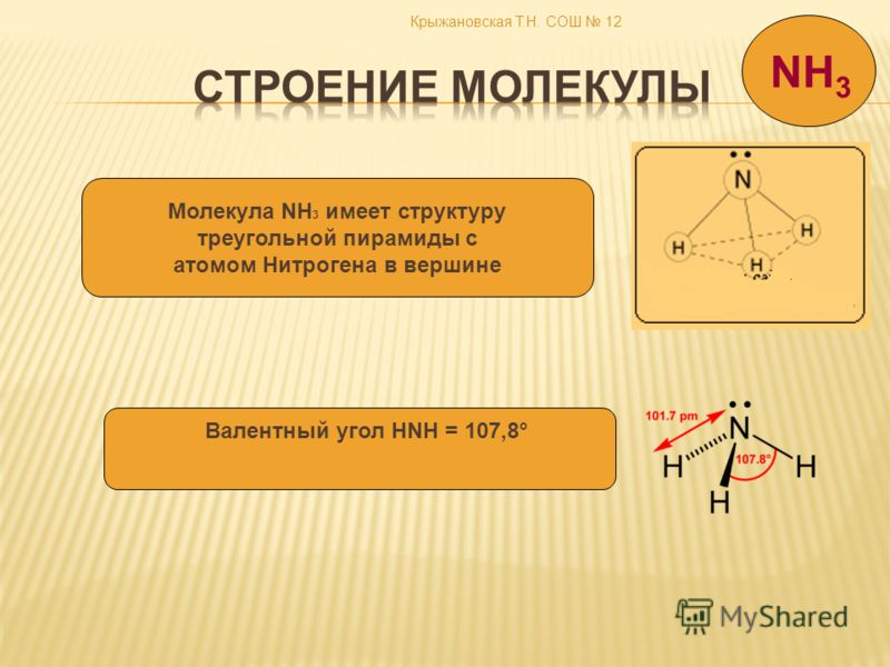Крыжановская Т.Н. СОШ 12 NH 3 Молекула NH 3 имеет структуру треугольной пирамиды с атомом Нитрогена в вершине Валентный угол HNH = 107,8°