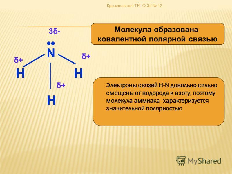 Крыжановская Т.Н. СОШ 12 N HH H Электроны связей Н-N довольно сильно смещены от водорода к азоту, поэтому молекула аммиака характеризуется значительной полярностью Молекула образована ковалентной полярной связью 3δ-3δ- δ+δ+ δ+δ+ δ+δ+ N HH H N HH H